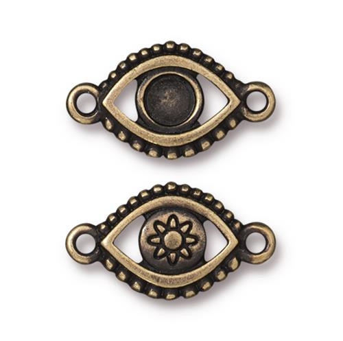 Evil Eye Bezel Link, Oxidized Brass Plate, 20 per Pack