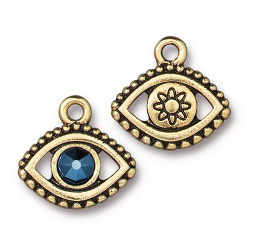 Evil Eye Charm With Swarovski ® SS20, Antiqued Gold Plate, 6 per Pack
