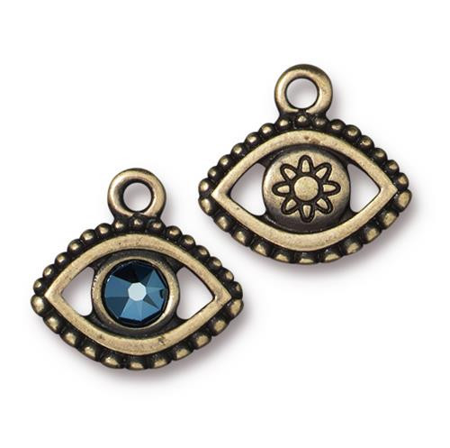 Evil Eye Charm With Metallic Blue Crystal, Oxidized Brass Plate, 6 per Pack