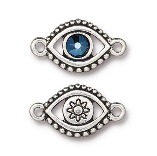 Evil Eye Link With Swarovski ® SS20, Antiqued Silver Plate, 6 per Pack