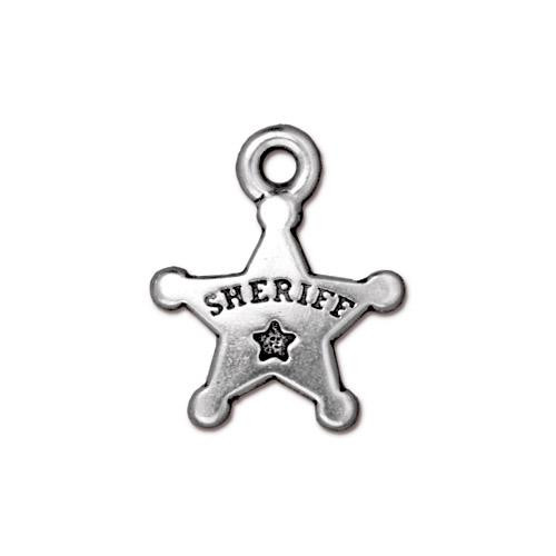 Sheriff's Badge Charm, Antiqued Silver Plate, 20 per Pack