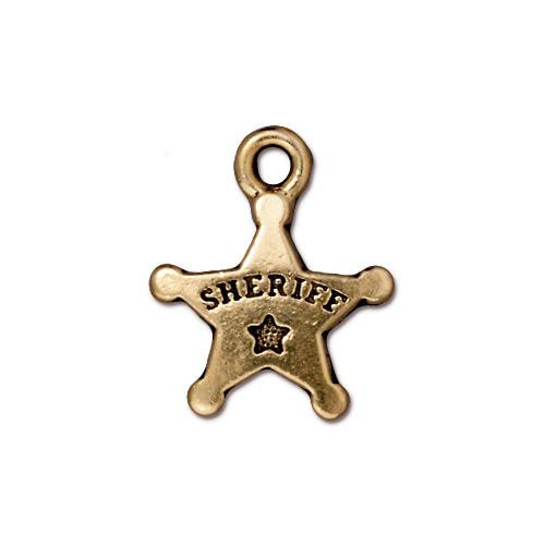Sheriff's Badge Charm, Antiqued Gold Plate, 20 per Pack