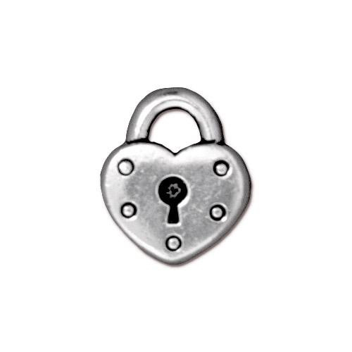 Heart Lock Charm, Antiqued Silver Plate, 20 per Pack