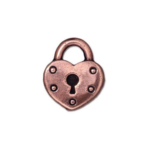 Heart Lock Charm, Antiqued Copper Plate, 20 per Pack