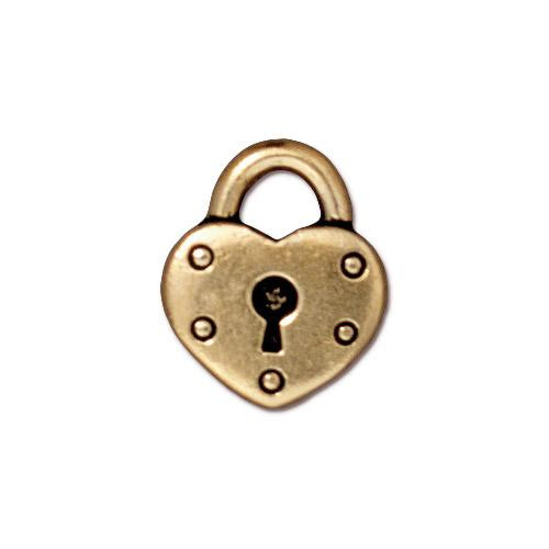 Heart Lock Charm, Antiqued Gold Plate, 20 per Pack