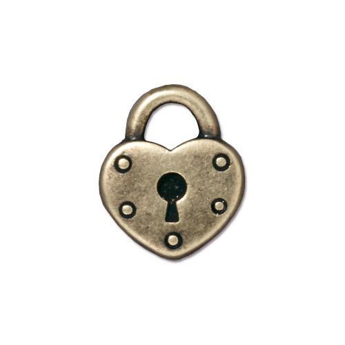 Heart Lock Charm, Oxidized Brass Plate, 20 per Pack
