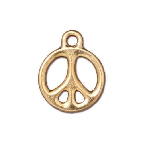Peace Charm 5/8 inch, Gold Plate, 20 per Pack