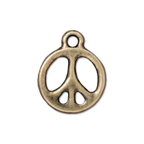 Peace Charm 5/8 inch, Oxidized Brass Plate, 20 per Pack