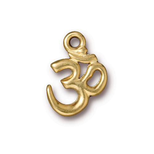 Open Om Charm, Gold Plate, 20 per Pack