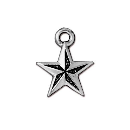 Nautical Star Charm, Antiqued Silver Plate, 20 per Pack