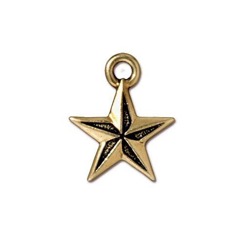 Nautical Star Charm, Antiqued Gold Plate, 20 per Pack