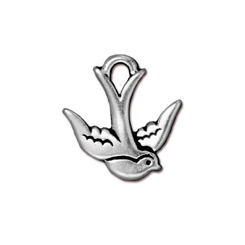 Swallow Charm, Antiqued Silver Plate, 20 per Pack