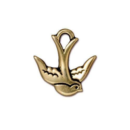 Swallow Charm, Antiqued Gold Plate, 20 per Pack