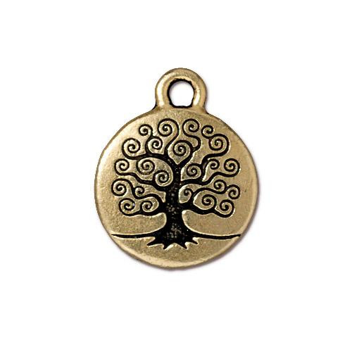 Tree of Life Charm, Antiqued Gold Plate, 20 per Pack