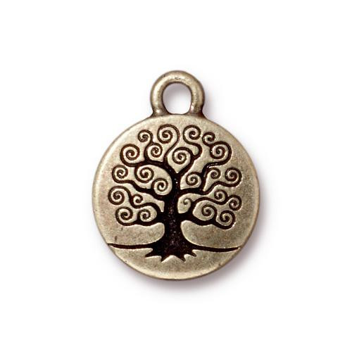 Tree of Life Charm, Oxidized Brass Plate, 20 per Pack