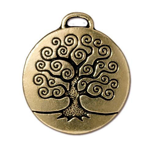 Tree of Life Pendant, Antiqued Gold Plate, 10 per Pack
