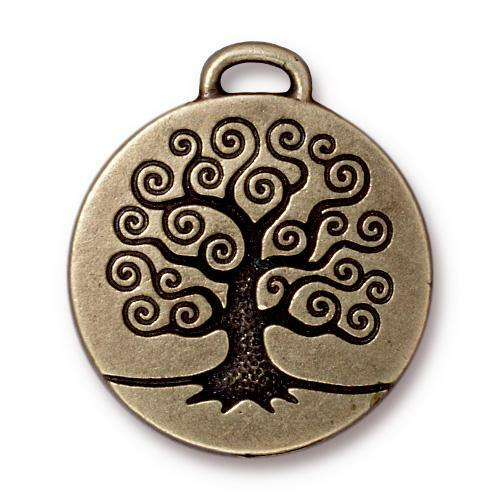 Tree of Life Pendant, Oxidized Brass Plate, 10 per Pack