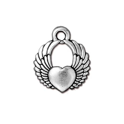 Winged Heart Charm, Antiqued Silver Plate, 20 per Pack