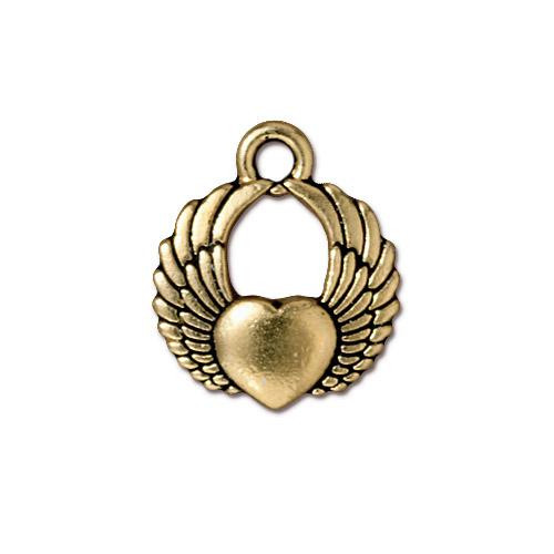 Winged Heart Charm, Antiqued Gold Plate, 20 per Pack