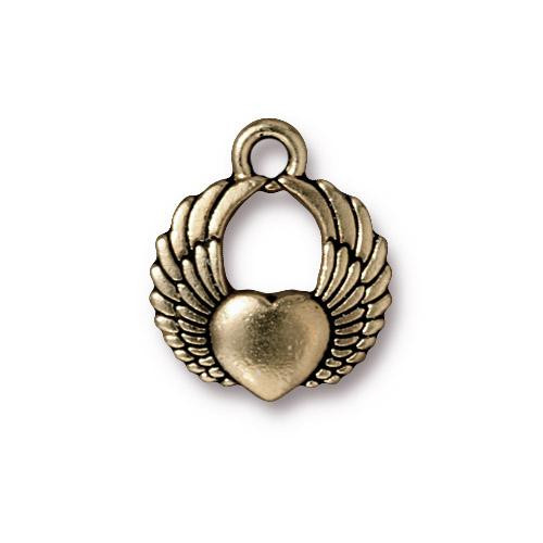 Winged Heart Charm, Oxidized Brass Plate, 20 per Pack