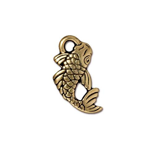 Koi Charm, Antiqued Gold Plate, 20 per Pack