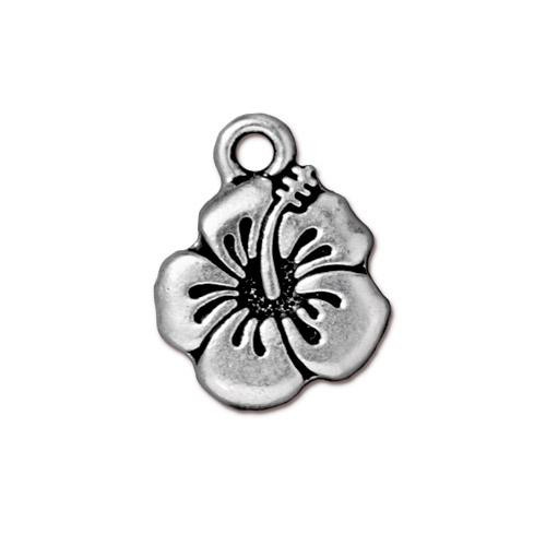 Hibiscus Charm, Antiqued Silver Plate, 20 per Pack
