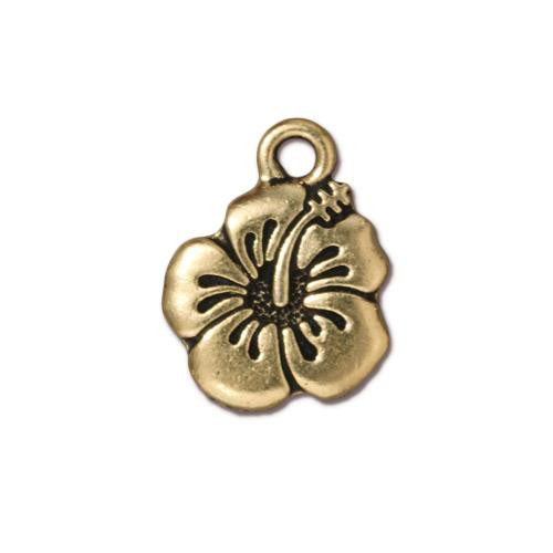 Hibiscus Charm, Antiqued Gold Plate, 20 per Pack