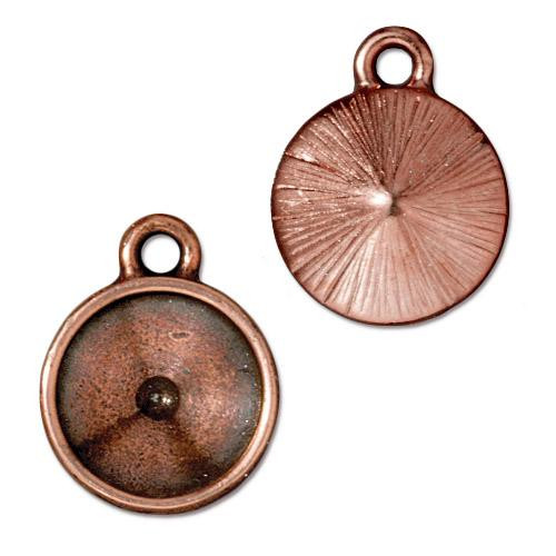 Plain 12mm Rivoli Bezel Drop, Antiqued Copper Plate, 20 per Pack