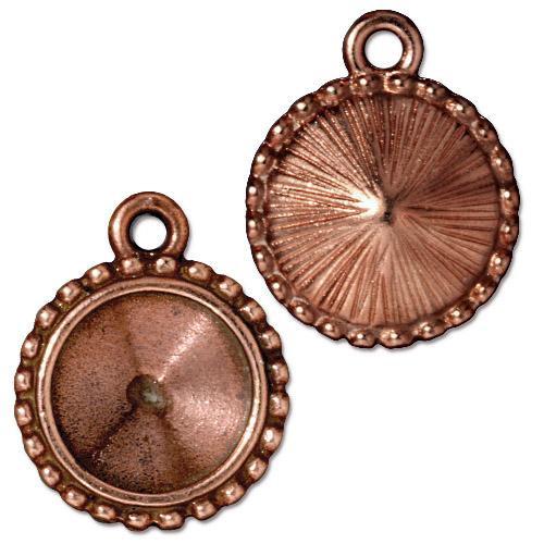 Beaded 12mm Rivoli Bezel, Antiqued Copper Plate, 20 per Pack
