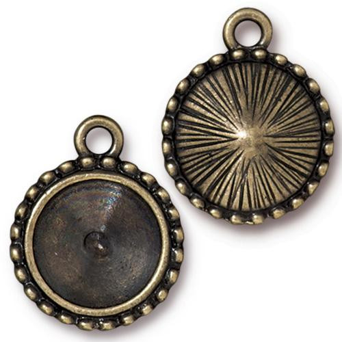 Beaded 12mm Rivoli Bezel, Oxidized Brass Plate, 20 per Pack