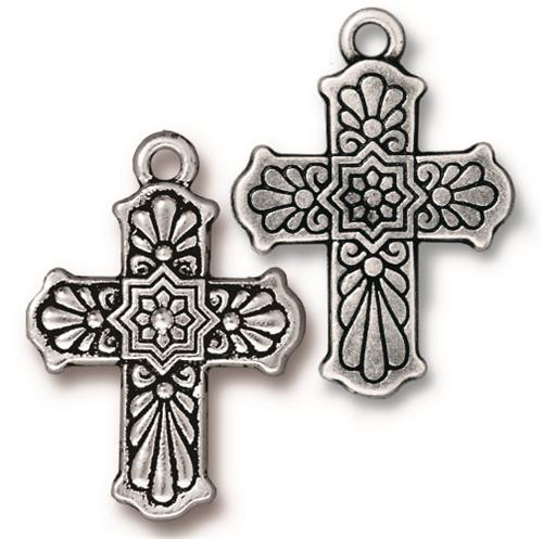 Talavera Cross Charm, Antiqued Silver Plate, 10 per Pack