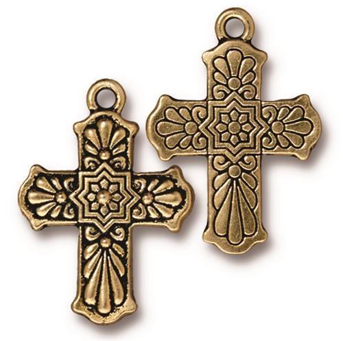 Talavera Cross Charm, Antiqued Gold Plate, 10 per Pack