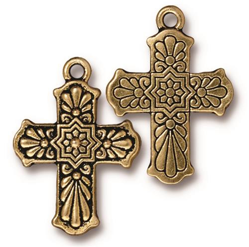 Talavera Cross Charm, Antiqued Gold Plate, 10 per Pack