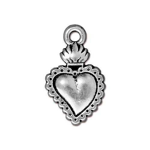 Milagro Heart Charm, Antiqued Silver Plate, 20 per Pack