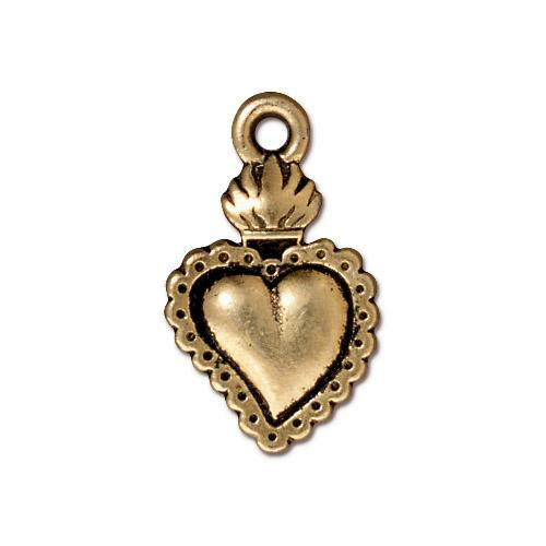 Milagro Heart Charm, Antiqued Gold Plate, 20 per Pack