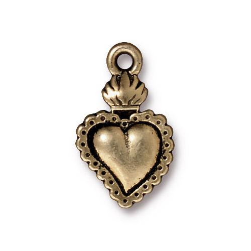 Milagro Heart Charm, Oxidized Brass Plate, 20 per Pack