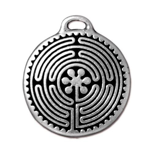 Labyrinth Pendant, Antiqued Silver Plate, 10 per Pack