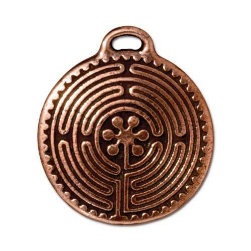 Labyrinth Pendant, Antiqued Copper Plate, 10 per Pack