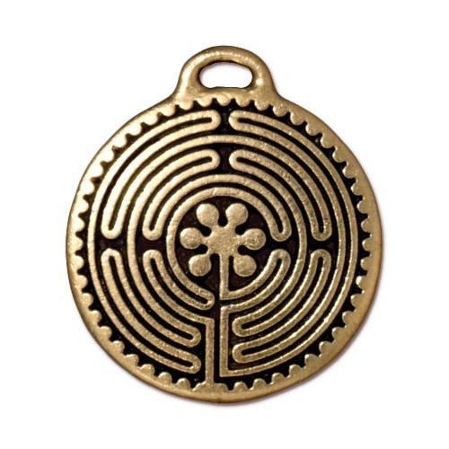 Labyrinth Pendant, Antiqued Gold Plate, 10 per Pack