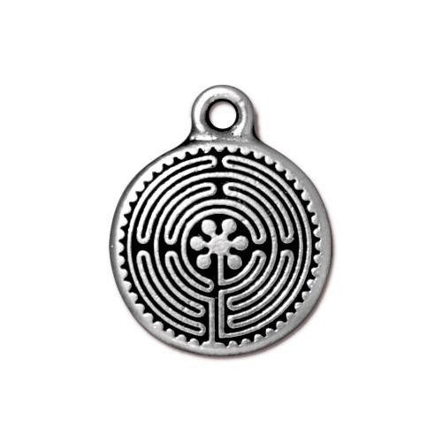 Labyrinth Charm, Antiqued Silver Plate, 20 per Pack