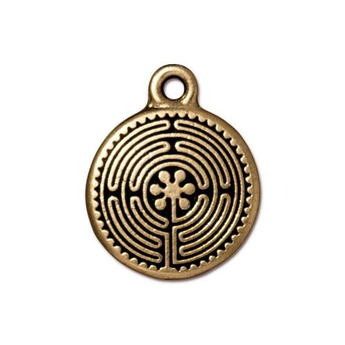 Labyrinth Charm, Antiqued Gold Plate, 20 per Pack