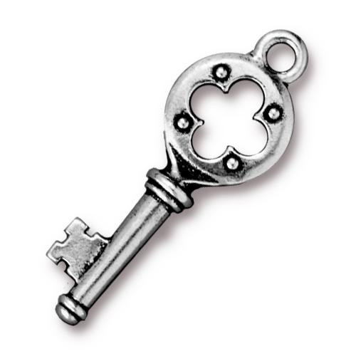 Quatrefoil Key Charm, Antiqued Silver Plate, 20 per Pack