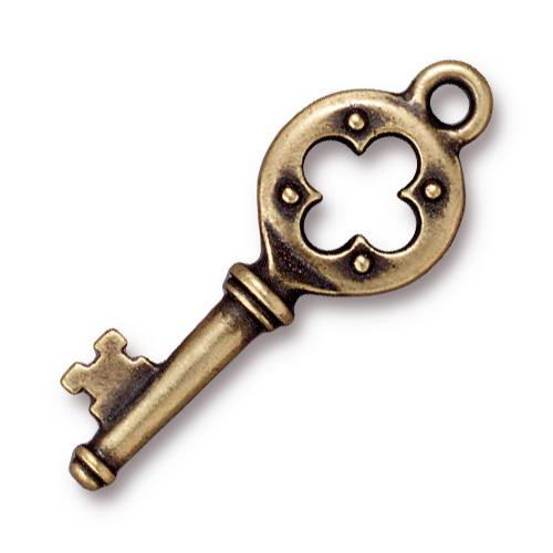 Quatrefoil Key Charm, Oxidized Brass Plate, 20 per Pack