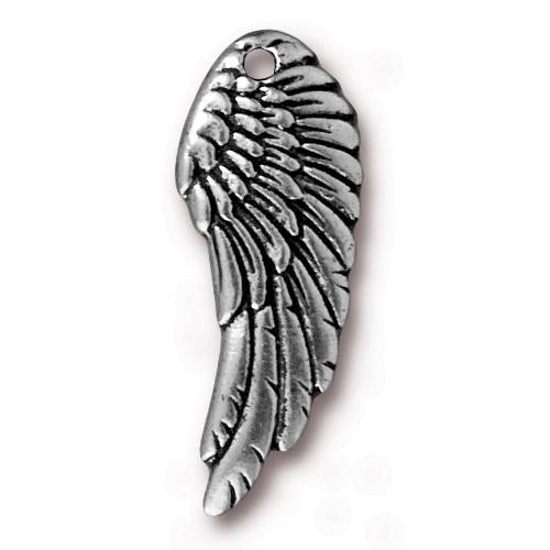 Wing Charm, Antiqued Silver Plate, 20 per Pack