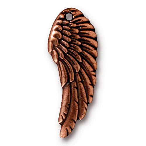 Wing Charm, Antiqued Copper Plate, 20 per Pack