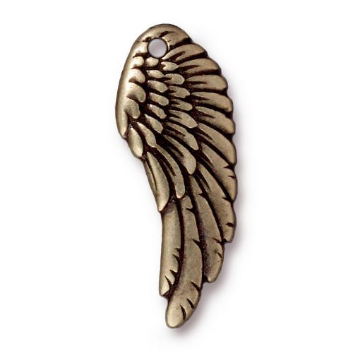 Wing Charm, Oxidized Brass Plate, 20 per Pack