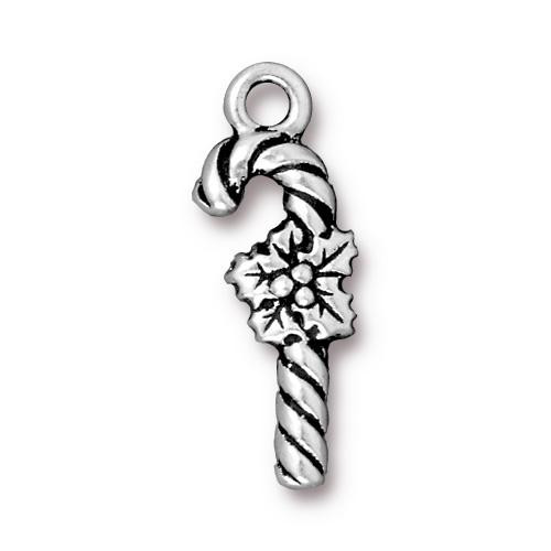 Candy Cane Charm, Antiqued Silver Plate, 20 per Pack