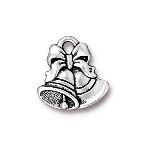 Christmas Bells Charm, Antiqued Silver Plate, 20 per Pack