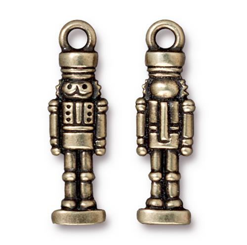 Nutcracker Charm, Oxidized Brass Plate, 20 per Pack