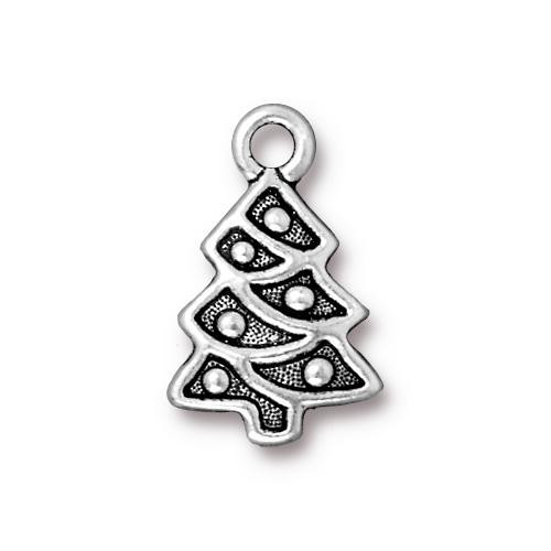 Christmas Tree Charm, Antiqued Silver Plate, 20 per Pack
